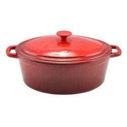 6,2 liter Piros kívül-belül zománcozott öntöttvas ovális sütőtál fedővel 32*25*13 cm