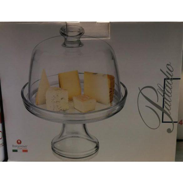 Palladio talpas üveg sütemény vagy sajttál búrával 22 cm