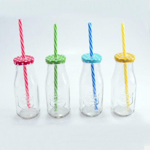 """Party """"tejes üveg"""" alakú pohár szett, szívószállal, 4 db"""