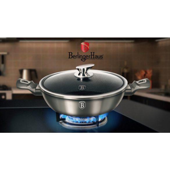 Berlinger Haus Metallic Line Carbon Edition 3,8 literes lábashőálló üveg fedővel, 28*7,5 cm
