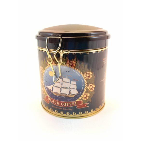 Henger alakú fém tárolódoboz aromazárós tetővel Black Coffee felirattal