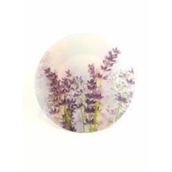 Levendula mintás üveg kör alakú lapos kínálótál 30 cm