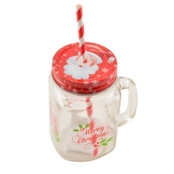 Bögre szívószállal karácsony-télapó 450 ml