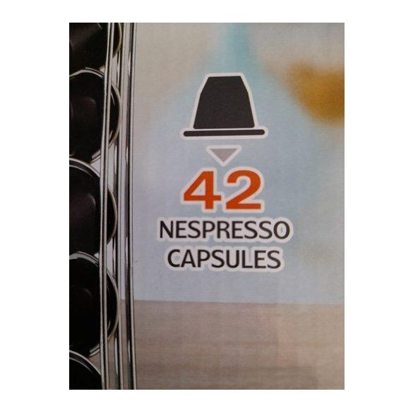 Fekete fém, álló, kétoldalas kávékapszula tartó, 42 db Nespresso kapszula tárolására