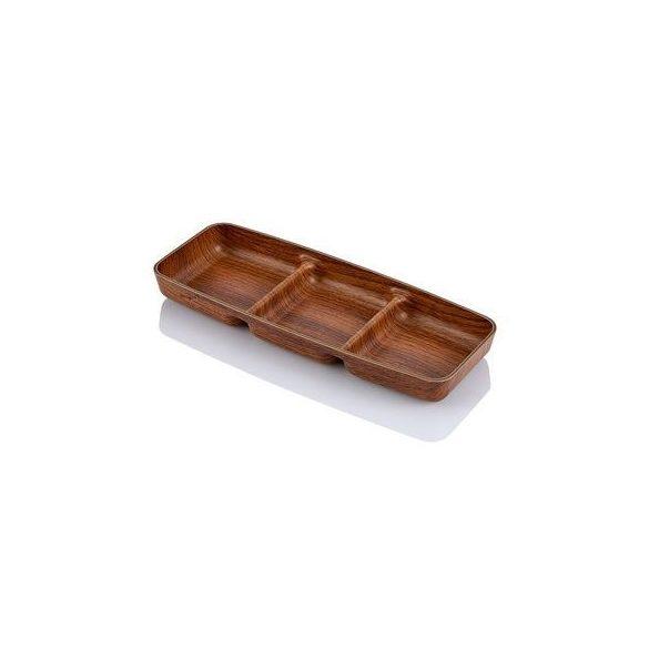 EVELIN plastic kínáló szögletes 3 részre osztott 10x26x2,7 cm