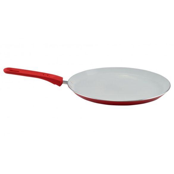 Kerámia bevonatos palacsintasütő. 26 cm, piros