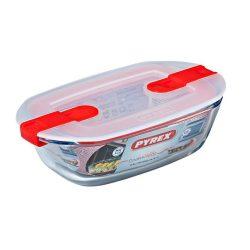 Pyrex Cook@Heat szögletes sütő-hűtő tál műanyag tetővel,  17*10*5 cm,    0,4 l