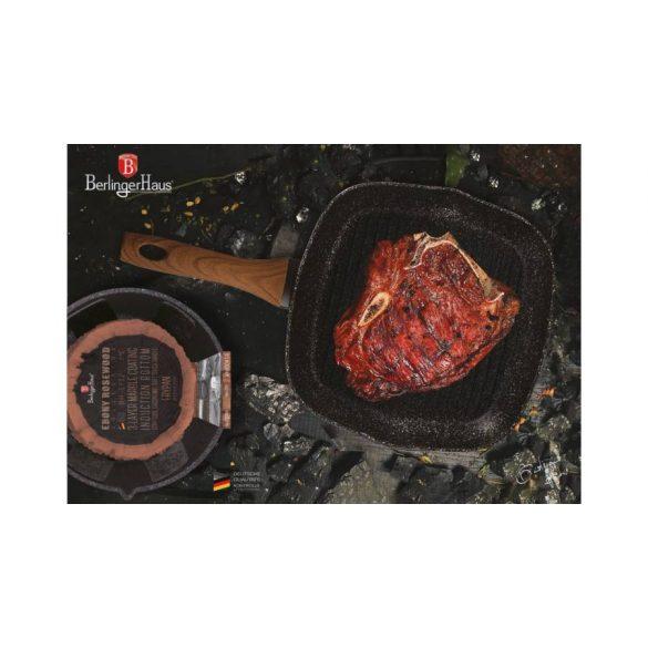Berlinger Haus Ebony Line tapadásmentes grill serpenyő gránit-márvány bevonattal, rózsafa mintázatú nyéllel 28*4,5 cm
