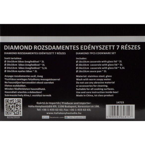 7 részes rozsdamentes acél Diamond edényszett hőálló üveg fedővel