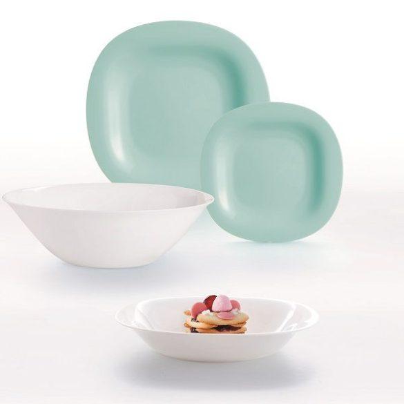 CARINE fehér-turquoise 19 részes opál üveg étkészlet