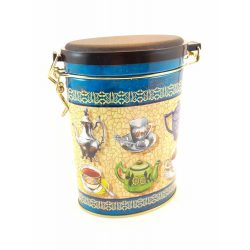 Ovális fém tároló doboz aromazárós tetővel Kannás, csészés  mintával 16*11*7,5 cm