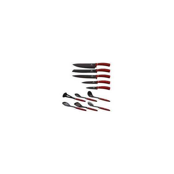 Berlinger Haus Metallic Line 12 részes konyhai készlet késekkel és kiszedőkkel, burgundy metál Bh-6248