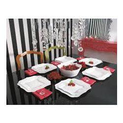 Luminarc Authentic fehér 19 részes étkészlet, szögletes tányérokkal hullámos széllel