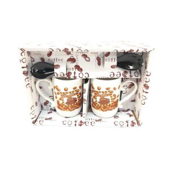Porcelán 2 részes kávés csésze szett 2 db kanállal 2*10 cl díszdobozban