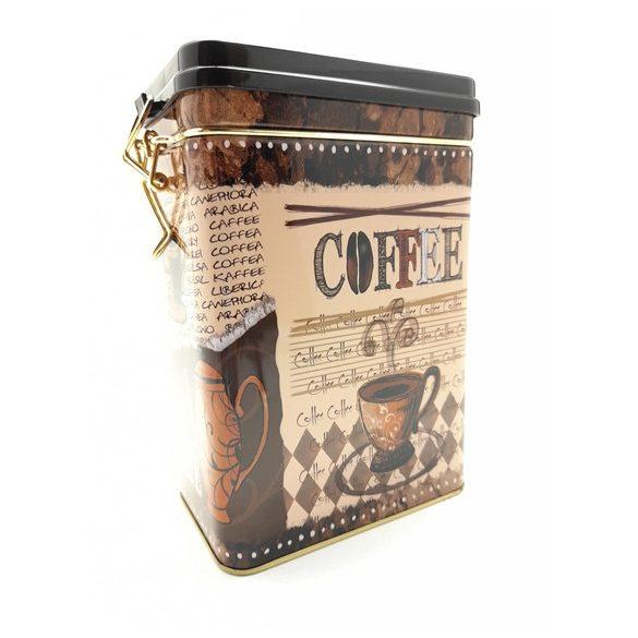 Coffee feliratos fém tárolódoboz, zárható tetővel, 18*12*8 cm