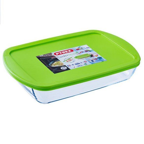Pyrex Cook&Store szögletes sütő-hűtő tál műanyag tetővel,   40*27*7 cm, 4 literes