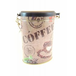Ovális fém tároló doboz aromazárós tetővel kávészemes mintával 16*11*7,5 cm