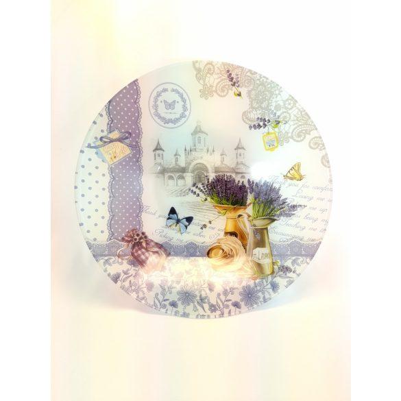 Levendula mintás üveg tálka, 15,5 cm