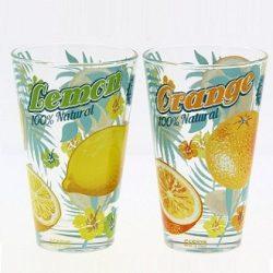 Nadia Orange-Lemon üveg üdÍtős pohár szett,  6 db,   31 cl