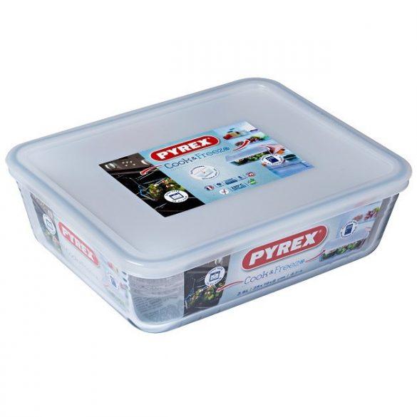 Pyrex Cook&Freeze téglalap sütő-hűtő tál műanyag tetővel,  25*19*8 cm,   2,6 l