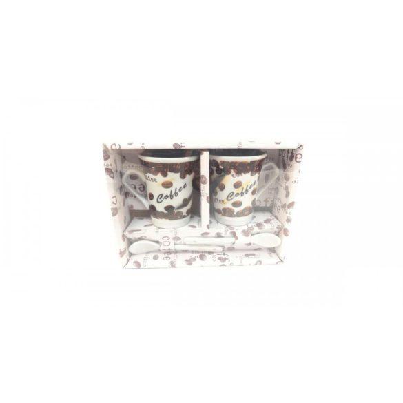 Porcelán 2 részes kávés csésze szett kanállal 10 cl