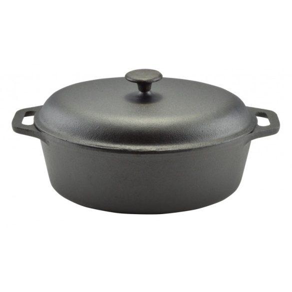 Öntöttvas ovális sütőtál fedővel 6,5 literes 33*26*11 cm