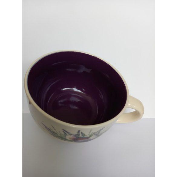 Extra nagy, Jumbo porcelán bögre, levendula mintával, 660 ml
