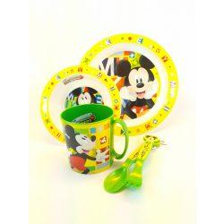 Disney Mickey egeres műanyag 5 részes gyerek étkező szett