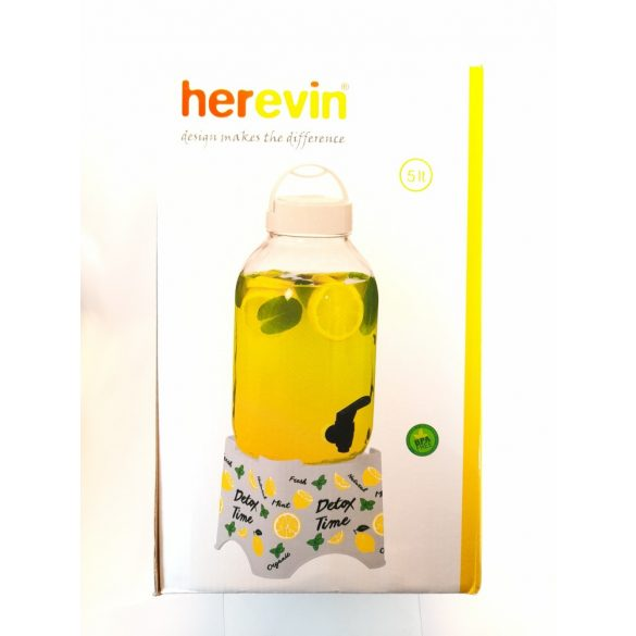 5 literes Csapos italadagoló üveg tartóval fehér színben