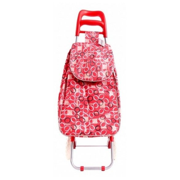 Bevásárlókocsi piros, virágos mintával 94*32*27 cm