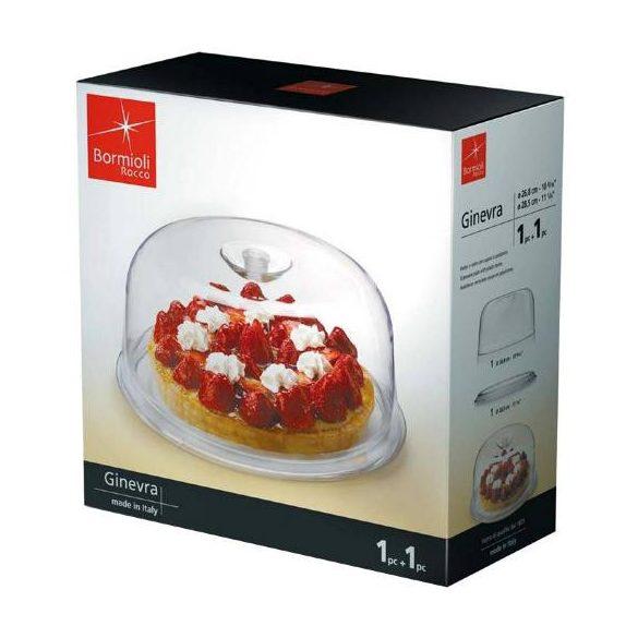 Bormioli Rocco GINEVRA tortatál + műanyag búra, 28,5 cm