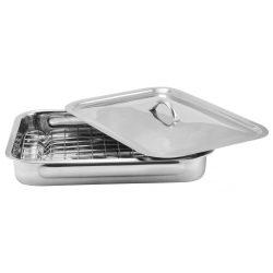 Perfect Home  grillrácsos tepsi fedővel 3 részes,   35,5*24,5*5,5 cm