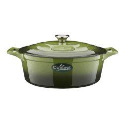 La Cuisine GREEN öntöttvas ovális  sütőtál fedővel  29 x 11 cm   4,75 literes