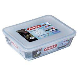 Pyrex Cook&Freeze téglalap sütő-hűtő tál műanyag tetővel,  22*17*6 cm,    1,5 l