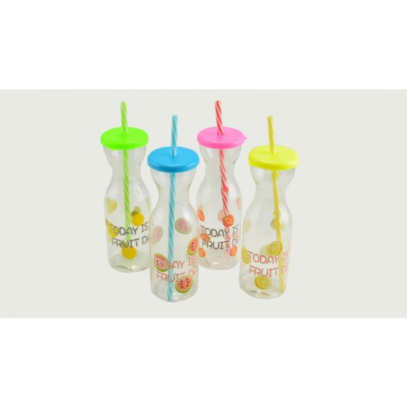 Party műanyag szívószálas pohár szett 4*300 ml
