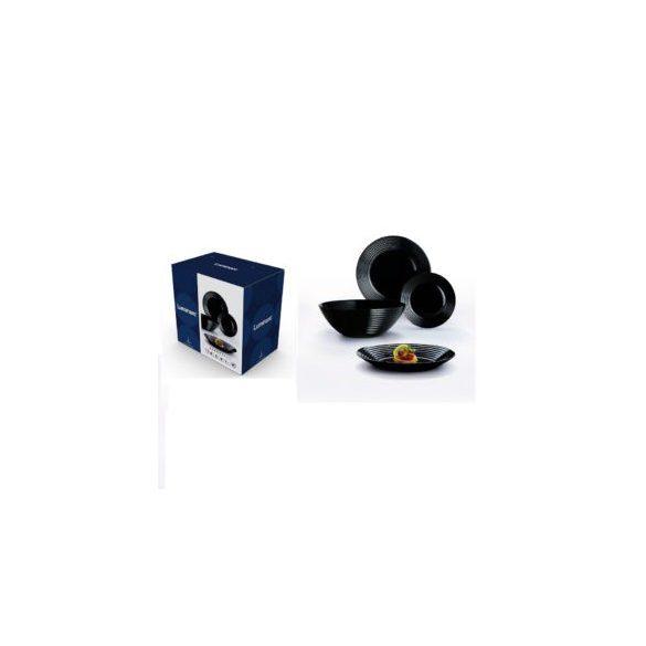 Luminarc Harena üveg 19 részes étkészlet, fekete színben