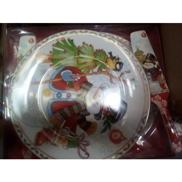Karácsonyi mintás 27 CM KERÁMIA tortatál torta lapáttal díszdobozban