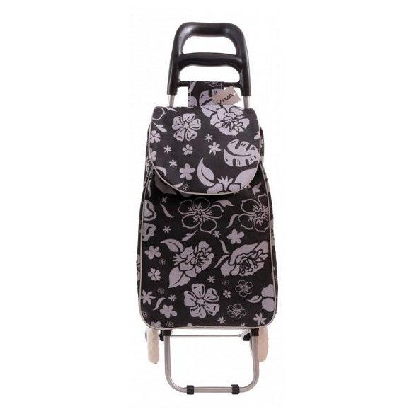 Bevásárlókocsi, fekete, virágos mintával, 94*32*27 cm