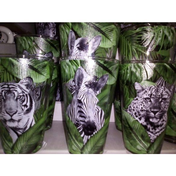 Nadia állatos mintás 6 db-os üveg pohár szett