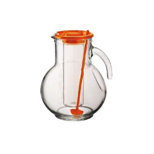 Kufra üveg kancsó tetővel, hűtőbetéttel,  2 l