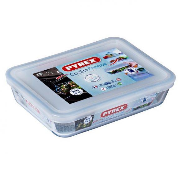 Pyrex Cook & Freeze téglalap sütő-hűtő tál műanyag tetővel,   19*14*4 cm,   0,8 l