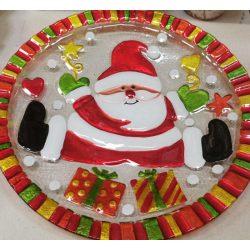 Karácsonyi mintás üveg kínáló, tortatál díszdobozban