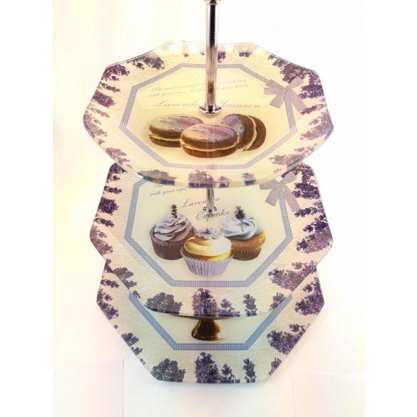 Levendula mintás, 3 szintes, üveg/fém kínáló