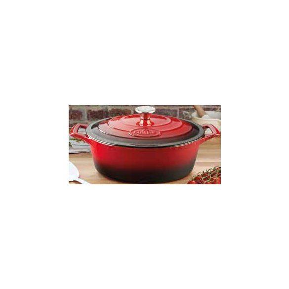 La Cuisine RED 4,75 literes ovális kívül-belül zománcos öntöttvas sütőtál fedővel 29*23*11 cm