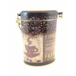 Ovális fém tároló doboz aromazárós tetővel Espresso mintával 16*11*7,5 cm