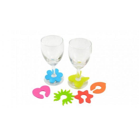 Szilikonos pohárjelölő 6 db-os