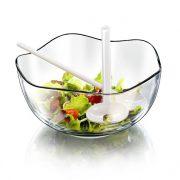 ONDA üveg salátás tál 26 cm+műanyag salátakanál + villa DÍSZDOBOZBAN