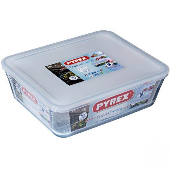 Pyrex Cook&Freeze téglalap sütő-hűtő tál műanyag tetővel,  27*22*9 cm,   4 literes