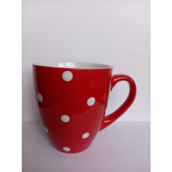 Piros pöttyös porcelán bögre 400 ml