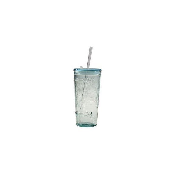 Off and On züld üveg szÍvószálas üdÍtós pohár tetővel szettben, 4 db,   0,5 l